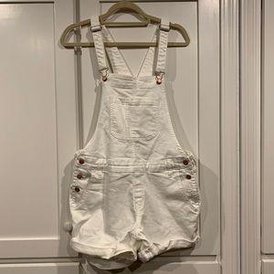 White Shorts Overalls